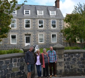 Members of the Edwards family in front of Sous Les Hougues, where Gerald was born.